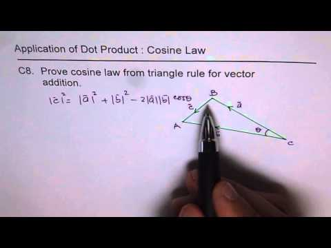 Prove Cosine Law With Dot Product of Vectors