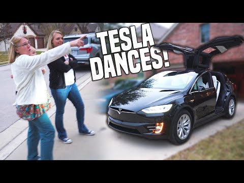 Mom's Reaction to our Tesla!