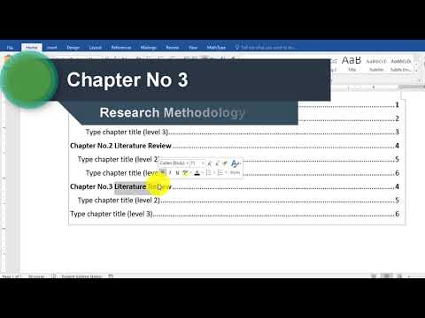 How to create Table of contents in ms word 2016 Step by step