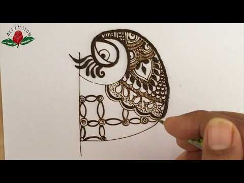 practice simple intricate peacock mehndi design with me  :practice 15