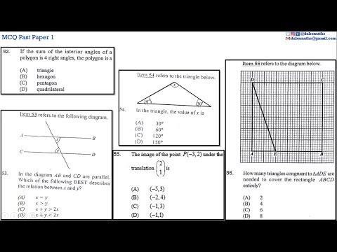 52,53,54,55&56 | Geometry and Trigonometry | Multiple Choice 1 | CXC CSEC Mathematics
