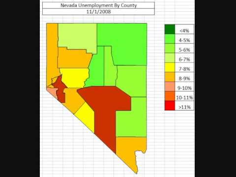 Map: Nevada Unemployment By County August 2013