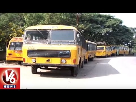 RTA Department Focus On School Bus Fitness To Avoid Accidents | Hyderabad | V6 News