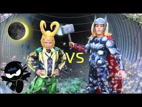 LOKI vs THOR! NINJA KIDZ!  / Solar Eclipse!