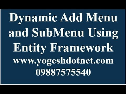 How to create dynamic Menu in ASP.NET MVC and Entity Framework | hindi