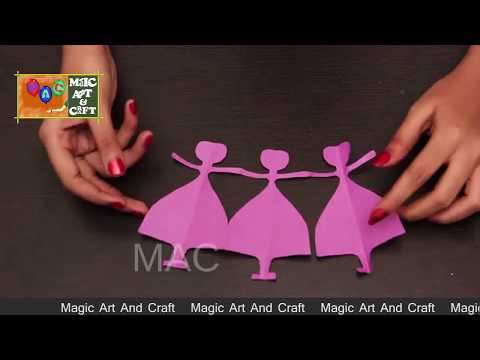 How to Make Paper Doll Chain  ,Simple Craft and art For Kids