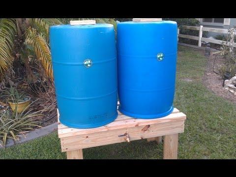 Twin Rain Barrel Construction Pt.1