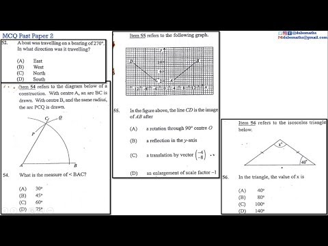 52,54,55&56 | Geometry and Trigonometry | Multiple Choice 2 | CXC CSEC Mathematics