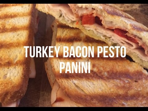 Turkey, Bacon, Pesto Grilled Panini | What's for Dinner | The Green Notebook