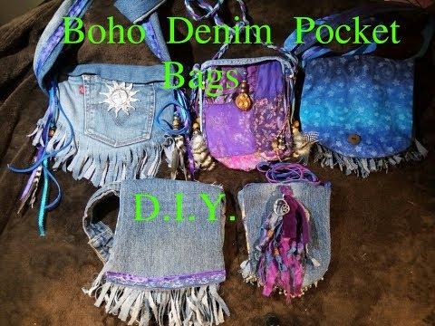 DIY-Boho/Hippie Denim Pocket Bags