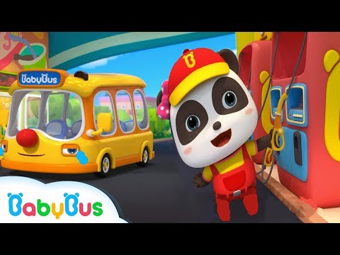 Baby Panda Gas Station Attendants   Little Bus is Hungry   Kids Role Play   BabyBus