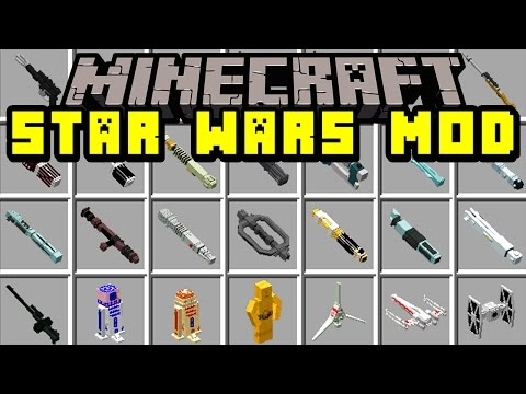 Minecraft STAR WARS MOD!   TIE FIGHTERS, X-WING, SPACE SHIPS, GUNS, BB8, & MORE!   Modded Mini-Game
