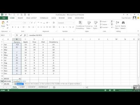 Advanced Microsoft Excel 2013 Tutorial | AVERAGE, MODE, MEAN, And MEDIAN