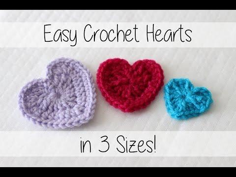 Easy Crochet Hearts - 3 Sizes! | Sewrella