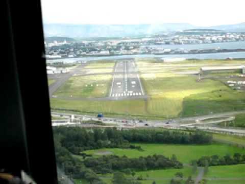 Landing at Reykjavik airport in iceland