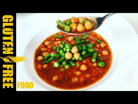 Italian vegetable soup with red lentil and chickpea - gluten free recipe
