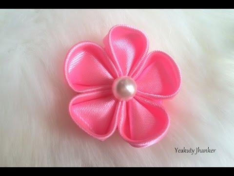 DIY: How to make a Kanzashi ribbon flower.