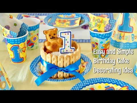 Happy 1st Birthday🎉 (Easy and Kawaii Birthday Cake Decorating Idea for Baby Boy)  - OCHIKERON