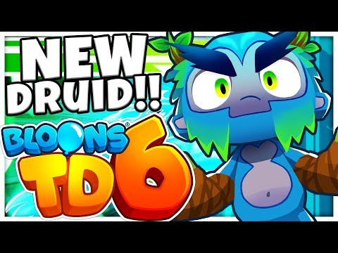 BRAND NEW DRUID  - EARLY GAMEPLAY - NEW TOWERS, 5 UPGRADE TOWERS AND HEROES (BLOONS TOWER DEFENSE 6)