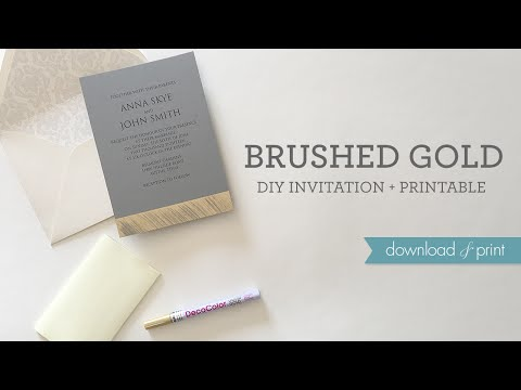 Brushed Gold DIY Wedding Invitation