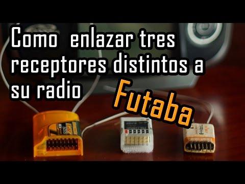 Como enlazar 3 receptores a radio Futaba