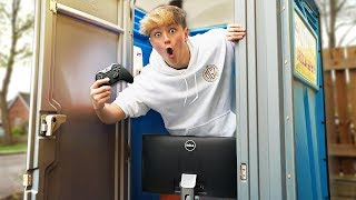 I Won a Game of FORTNITE in a PORTA POTTY!! (Battle Royale Challenge)