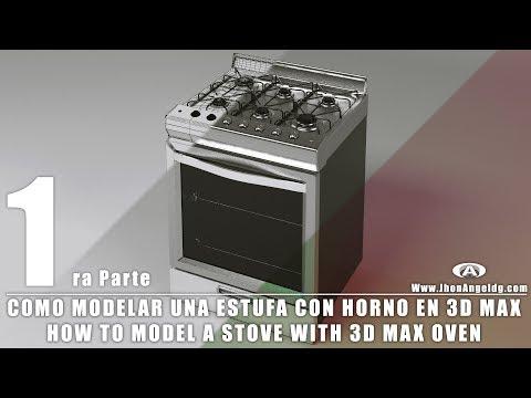 Como modelar una estufa con horno en 3D Max Parte 1 // How to model a stove with a 3D oven Max