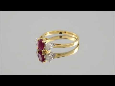 18ct Gold Diamond And Ruby Trilogy Ring - D3028