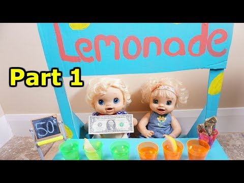 BABY ALIVE Emily & Ruby Snow Build A Lemonade Stand To Earn Money!