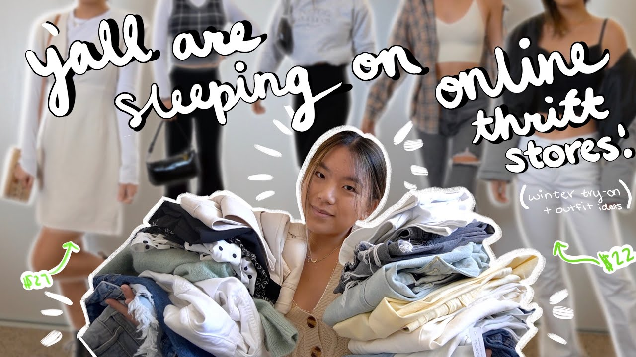 yall are sleeping on ONLINE thrift stores (winter try-on haul + outfit ideas)