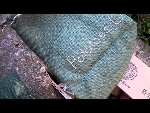 Home-made potato sacks.