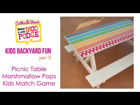 Kids Backyard DIY Fun: Picnic Table, Marshmallow Pops & Matching Game