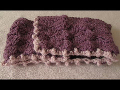 VERY EASY crochet shell stitch and bobble stitch blanket / afghan tutorial