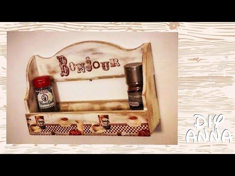 decoupage vintage kitchen shelves DIY shabby chic distressed ideas decorations craft tutorial