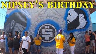 NEW FOOTAGE: Nipsey Hussle birthday at THE MARATHON STORE on 08-15-19