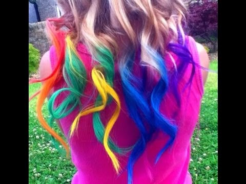 Rainbow Hair Dyed with Chalk Tutorial (Temporary) | Haley & Bronwen