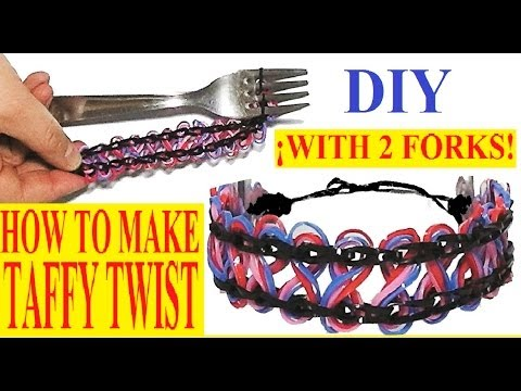 How to make TAFFY TWIST bracelet with two forks. Without loom. rubber band bracelet. Tutorial diy.