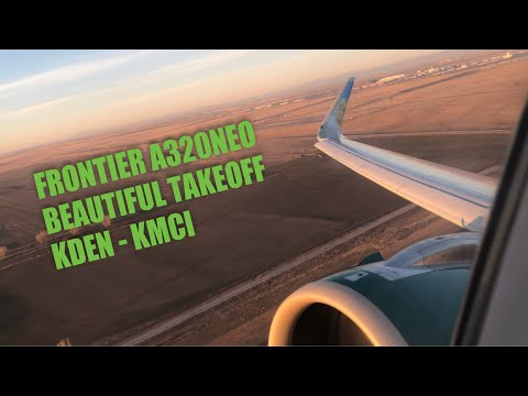 Frontier Airlines A320NEO N303FR Sunrise Takeoff from Denver International Airport - HD 60fps