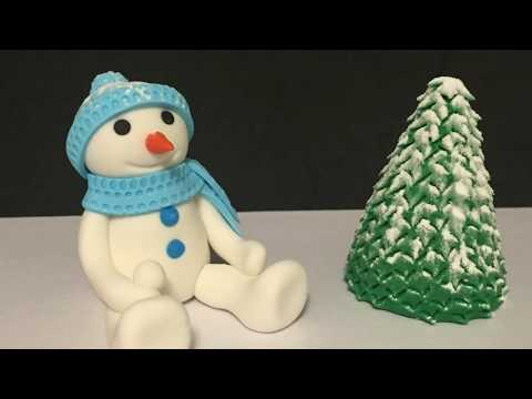 How to make fondant snowman and tree