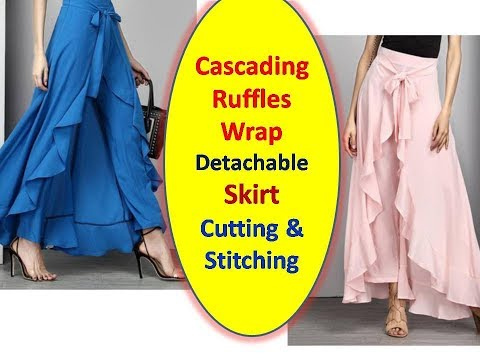 DIY Easy Making of Cascading Ruffles Wrap detachable Skirt | Cutting and Stitching | Part - 1