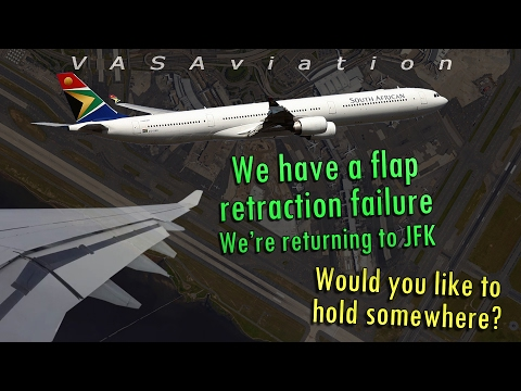 [REAL ATC] South African A340 FLAPS STUCK DOWN   Kennedy JFK
