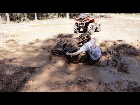 2017 & 2018 CANAM OUTLANDER XMRs DIVE INTO DEEP MUD HOLE!! ULTIMATE ATV ADVENTURE PARK!!