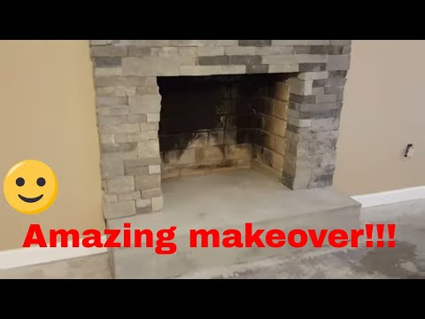 Installation of stone veneer AirStone around a fireplace
