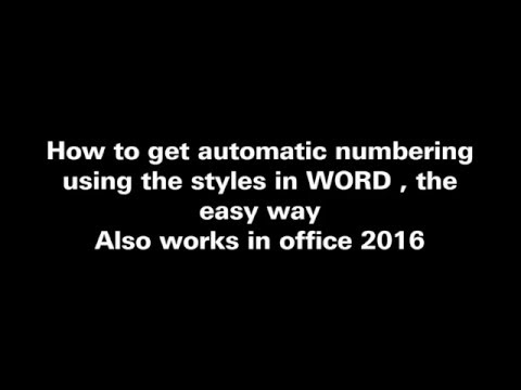 Automatic Numbering in Word (2013 2016) - Easy Way