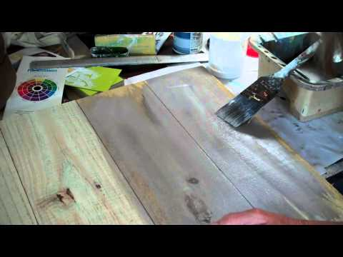 How to make new wood look old   Paint wash method 1
