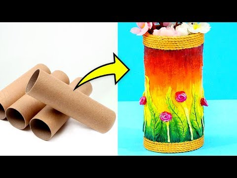 DIY: Craft Idea from Cardboard Roll | Flower Pot Making from waste Cardboard Tube | Best from Waste