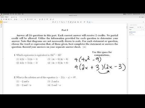 Algebra Regents 2017 January Problem 1