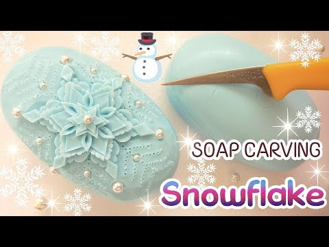 SOAP CARVING | Snowflake in Soap | Copo De Nieve | EASY| Satisfying | For Beginners |ASMR |