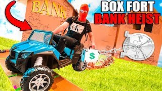 BOX FORT BANK ESCAPE With DIY Spy Gadgets! 24 Hour Box Fort City Challenge Day 5
