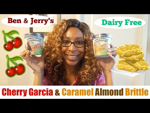 Ben & Jerry's Non Dairy Cherry Garcia & Caramel Almond Brittle Dairy Free Vegan Taste Test 2017